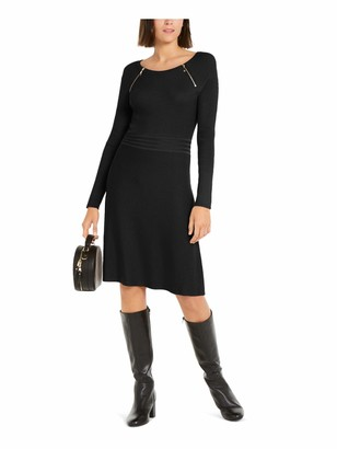Nici INC Womens Black Solid Long Sleeve Jewel Neck Knee Length Trapeze Dress UK Size: 8