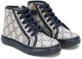 Gucci Kids - logo pattern zipped hi-tops - kids - Leather/Canvas/rubber - 27