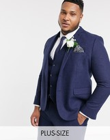 Harry Brown Plus wedding tweed heritage suit jacket-Navy