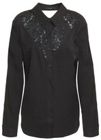 J Brand Cutout Corded Lace-paneled Twill Shirt
