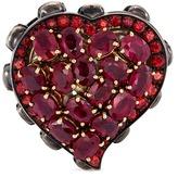 Delfina Delettrez Diamond ruby sapphire gold alloy skull heart ring