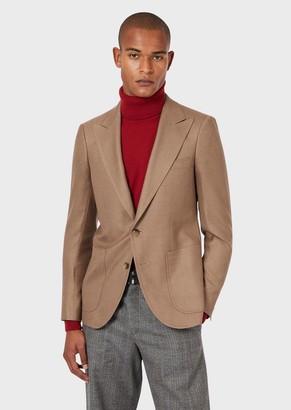 Emporio Armani Silk And Camel Blend Slim-Fit Jacket
