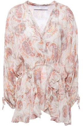 IRO Ruffled Printed Gauze Blouse