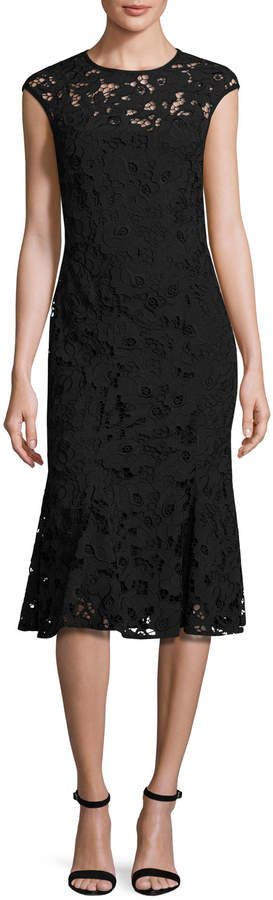 Shoshanna Cap-Sleeve Floral Lace Fit-and-Flare Midi Dress, Jet