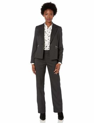 Le Suit LeSuit Women's Petite Pinstripe 1 Button Notch Collar Zip Pocket Pant Suit