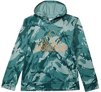 Adidas Originals Kids Core Camo Hooded Pullover (Big Kids) (Tech Emerald) Boy's Clothing