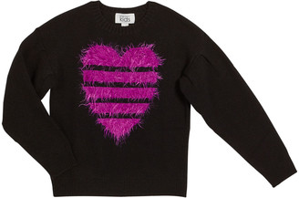 Autumn Cashmere Fuzzy Striped Heart Sweater, Size 8-16