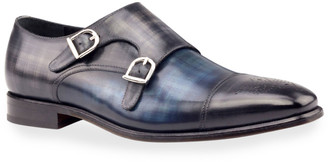 Ike Behar Men's Regal Two-Tone Patina Leather Double-Monk Loafers