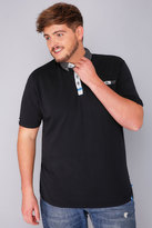 Yours Clothing D555 Black Polo Shirt With Woven Collar - TALL