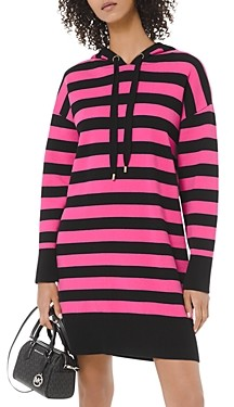 MICHAEL Michael Kors Striped Cotton-Stretch Hoodie Dress