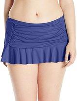 Bleu Rod Beattie Bleu | Rod Beattie Women's Plus Size Solid Retro Skirted Bikini Bottom