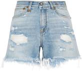 R 13 Distressed Cut-off Denim Shorts - Mid denim