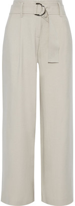Iris & Ink Nolina Belted Brushed-cady Wide-leg Pants