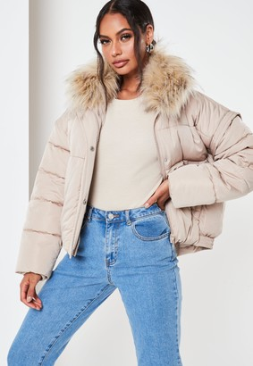 Missguided Petite Camel Ultimate Faux Fur Puffer Jacket