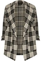 River Island Womens Black and white check fallaway jacket