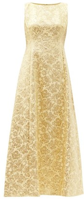 Dolce & Gabbana Flared Floral-brocade Dress - Yellow Gold