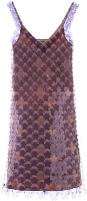 Paco Rabanne MINI DRESS WITH FLOWER SEQUINS 36 Purple