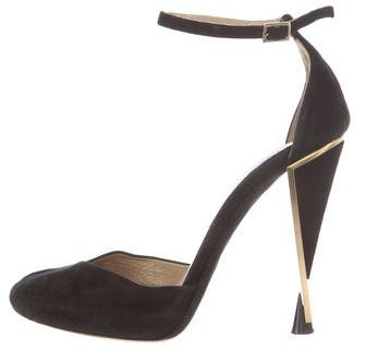 Diane von Furstenberg Suede Ankle Strap Pumps