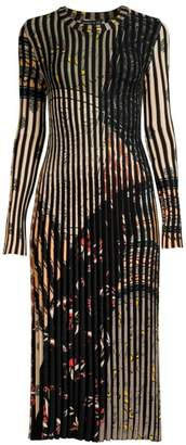 Etro Ribbed Stripe Knit Midi Dress