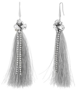 Catherine Malandrino Women's White Rhinestone Silver-Tone Gray Tassel Earrings