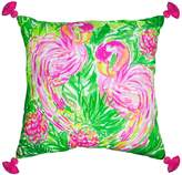 Lilly Pulitzer Tasseled Flamingo Oversized Indoor/Outdoor Canvas Square Pillow