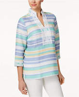 Charter Club Linen Striped Embroidered Tunic, Only at Macy's