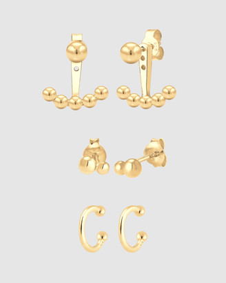 Elli Jewelry Earrings Ear Jacket Studs Earcuff Basic Minimalist in 925 Sterling Silver Gold Plated