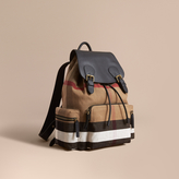 Burberry The Large Rucksack In Canvas Check And Leather, Brown
