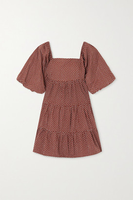 Faithfull The Brand + Net Sustain Eryn Tie-back Polka-dot Cotton-poplin Mini Dress - Brown