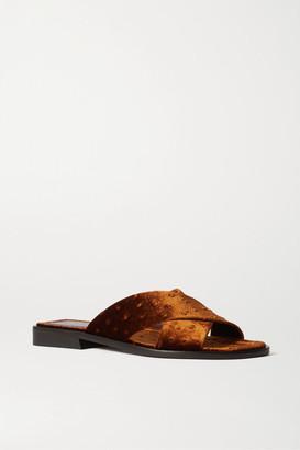Sies Marjan Cassie Ostrich-effect Velvet Sandals - Tan