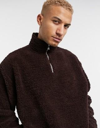 ASOS DESIGN oversized half zip track neck sweatshirt in brown teddy borg