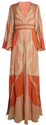 Alberta Ferretti Hand Embroidered Patchwork Fantasy Chiffon Silk Gown