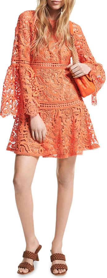 MICHAEL Michael Kors Lace Bell-Sleeve Mini Dress
