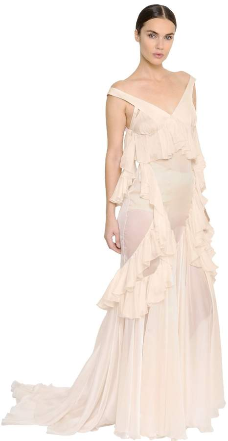 Francesco Scognamiglio Ruffled Sheer Silk Chiffon Long Dress