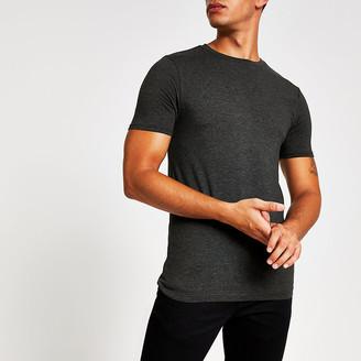 River Island Dark grey muscle fit short sleeve T-shirt