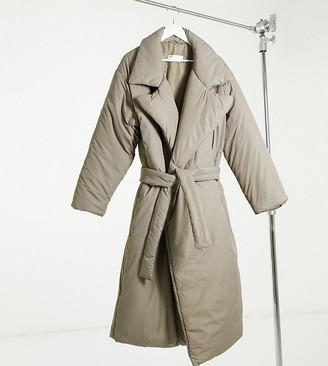Asos Tall ASOS DESIGN Tall collared belted puffer maxi coat