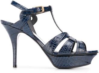 Saint Laurent Tribute crocodile-embossed stiletto sandals