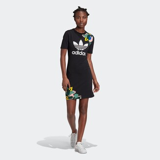 adidas Short-Sleeved Mini Dress with Crew-Neck