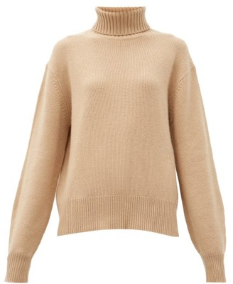 Chloé Roll-neck Monogram-embroidered Cashmere Sweater - Beige