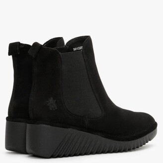 Fly London Lita Black Suede Low Wedge Chelsea Boots