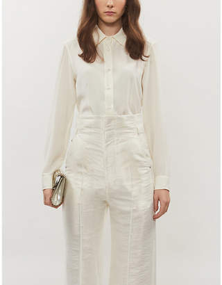 Etro Long-sleeved silk-crepe shirt