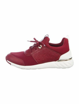 Louis Vuitton Monogram Pattern Leather Trim Embellishment Athletic Sneakers Red