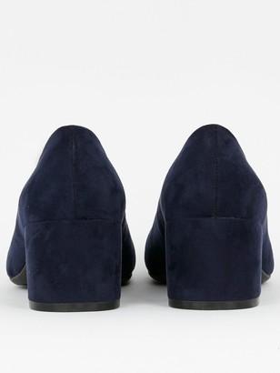 Evans Wide Fit Firelli Block Microfibre Court Shoes - Navy