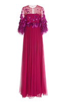 Andrew Gn Illusion Bead And Feather Embroidered Gown
