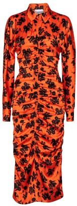 Ganni Floral stretch-silk dress
