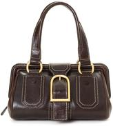 Celine Pre-Owned Brown Leather Shoulder Bag With Contrast Stitching