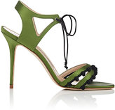 Manolo Blahnik Women's Esparra Satin Ankle-Tie Sandals-GREEN