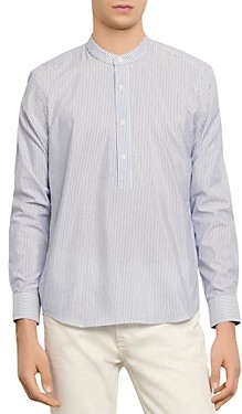 Sandro Striped Slim Fit Half Button-Up Tunic Shirt