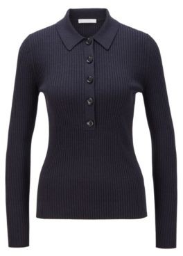 HUGO BOSS Slim Fit Ribbed Sweater With Polo Collar - Light Blue