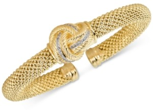 Macy's Diamond Love Knot Mesh Bangle Bracelet (1/4 ct. t.w.) in Gold-Tone Sterling Silver Vermeil